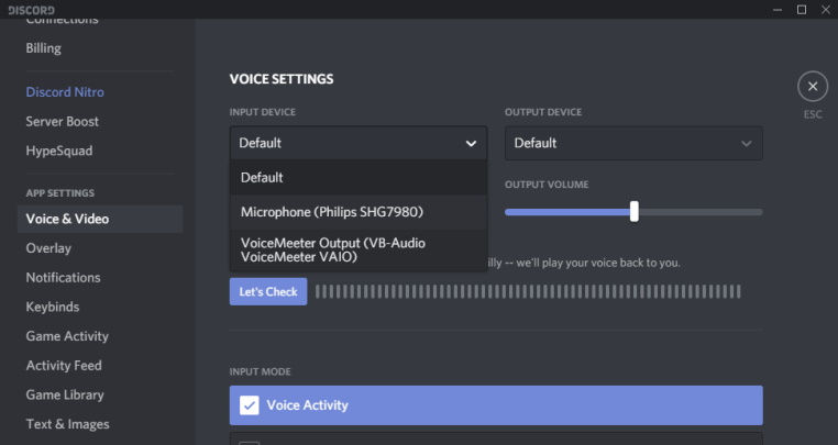 edit audio settings in the target program to useVoiceMeeter Outputas the primaryInput Device.