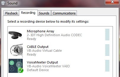 Make VoiceMeeter Output your default device