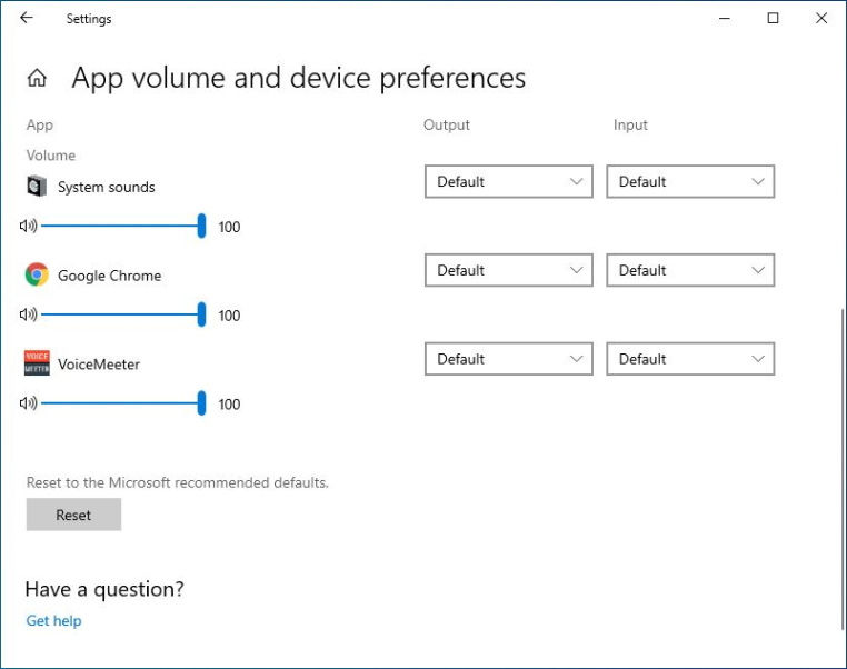 Win 10 built-in setting called app volume and device preferences