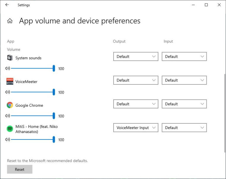 App volume and device preferences