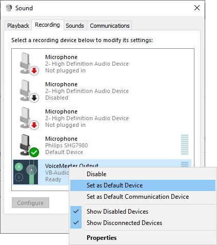 VoiceMeeter Output to Default Device and Default Communication Device