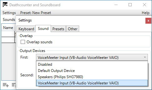 select VoiceMeeter Input as DCSB's First Output Device