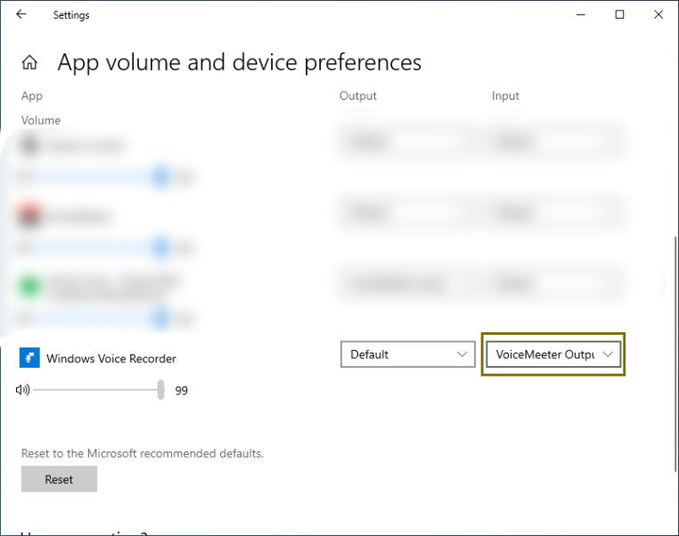 "Change Default to VoiceMeeter Output under the Output tab in ""App volume and device preferences"""